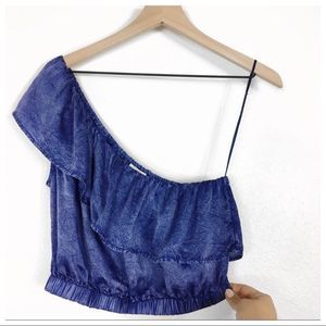 Lucky Brand Blue Satin One Shoulder Crop Top